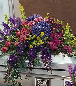 Purple Garden Casket Spray in Mechanicsburg, PA | Garden Bouquet