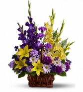 Purple Gladiolas Basket