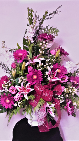 Purple glory funeral arrangement
