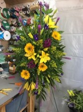 Purple & Gold Spray Funeral Spray