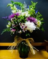 Purple, Green, and White Vase Arrangement