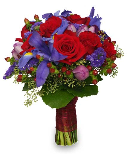 Wedding Bridal Bouquet Rich Jewel-toned Flowers