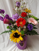 """ Heart Mason Jar"" seasonal bright flowers arranged! (mason jar could be pink, red or purple what ever is in stock)"