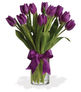 Purple Heart Tulips Vase