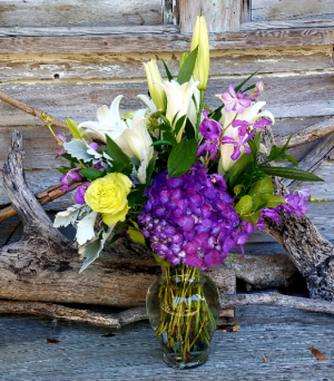 Purple Hydrangea  Vases arrangement in Key West, FL | Petals & Vines