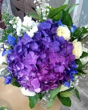 Purple Hydrangea with Blue Accent Wedding Bouquet in Key West, FL | Petals & Vines