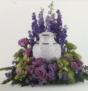 Purple & Lavendar Remembrance Cremation Arrangement in Jasper, TX | BOBBIE'S BOKAY FLORIST