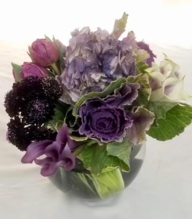 Purple Love Bubble bowl arrangement