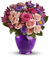 PURPLE MEDLEY BOUQUET WITH ROSE FLOWER ARRAGEMENT