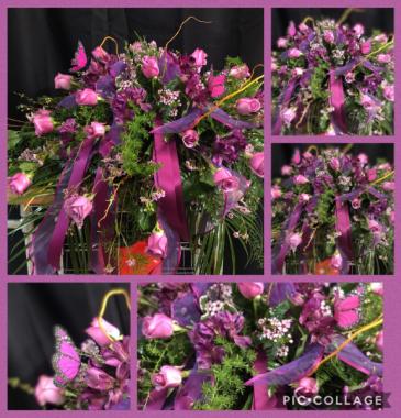 PURPLE MEMORIES CASKET FLOWERS
