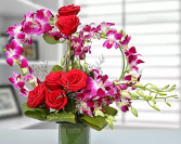 Purple orchid and red roses heart Vase arrangement