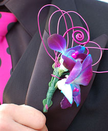 Purple Orchid Boutonniere Prom Flowers