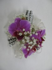 Purple Orchid on Bling Bracelet Wrist Corsage Abloom Original