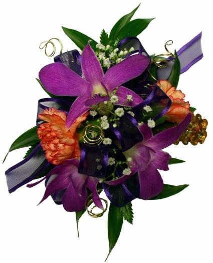Purple Orchid, Orange Mini Carnations Wrist Corsage