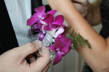 purple orchids wrist corsage