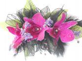 Purple Orchids, Black Ribbon, Hot Pink Rhinestones