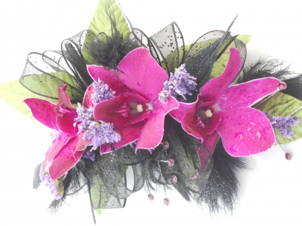Purple Orchids, Black Ribbon, Hot Pink Rhinestones