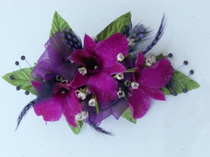 Purple Orchids & Purple Ribbon/Feathers/Rhinestone