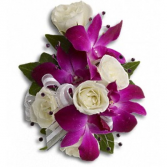 Purple Orchids & White Roses Corsage