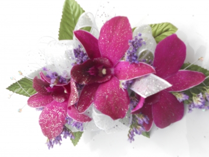 Purple Orchids With Sheer Ribbon & Rhinestones