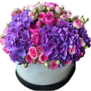 Purple passion Hydrangea And Rose Hat box.  in Ozone Park, NY | Heavenly Florist