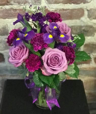 Purple Passion Vased Arrangement