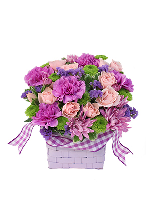 Purple Patchwork Basket in Fort Myers, FL | VERONICA SHOEMAKER FLORIST LLC