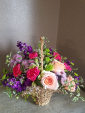 Purple, pink, and green Fresh arrangement