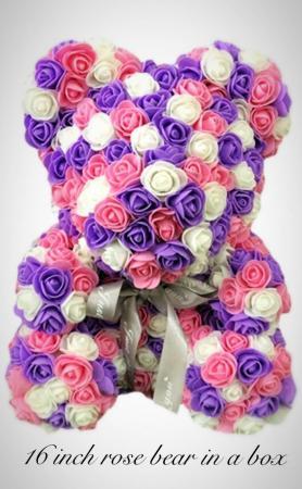 Purple pink and white rose bear RoseBear