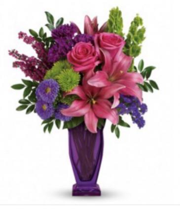 Purple & Pink blossoms bouquet  Vase
