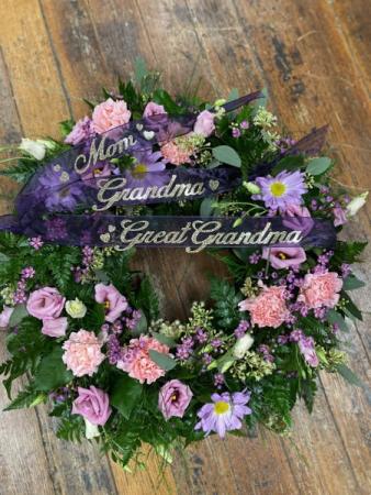 Purple & Pink Sympathy Wreath Sympathy Wreath