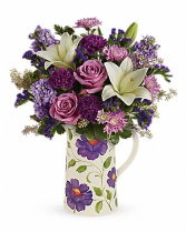 Purple pitcher Mothers Day Arrangement
