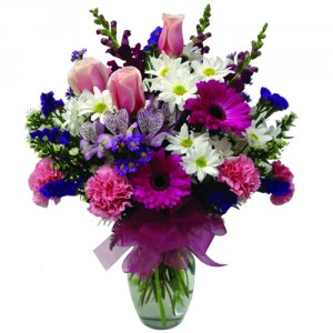 Purple Pleasure Arrangement Vase Arrangment in Saanich, BC | PETALS N BUDS SAANICH FLORIST