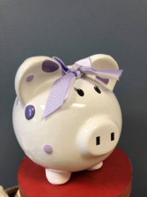 Purple Polka Dot Piggy Bank