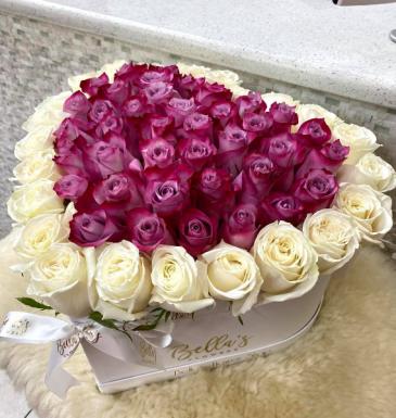 Purple Rain Heart 50 Fresh-Cut Roses