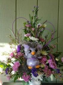 Purple Rock Hopper Penquin Valentine's Day