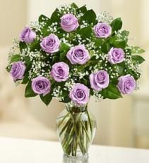 Purple Rose Elegance  Premium Dozen Long Stem Roses