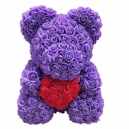 Purple Rose Teddy Bear With Heart In The Middle Display Box Included