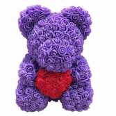 PURPLE ROSE TEDDY BEAR WITH HEART IN THE MIDDLE DI