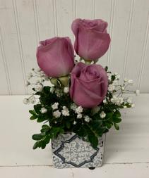 Purple Rose Trio in Geometric Keepsake