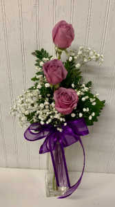Purple Rose Trio in Tall Glass Vase