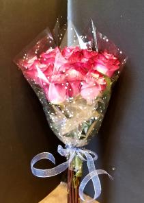 Purple Roses Dozen Wrapped