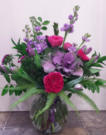 Purple Spring Garden Vase Arrangement