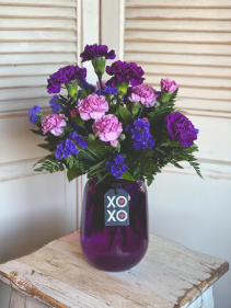 Purple Vase Carnation Arrangement Valentine's Day Special