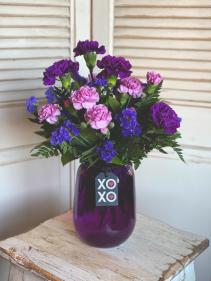 Purple Vase Carnation Arrangement Valentine's Day Special