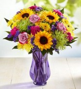 Purple Vase with sunflowers