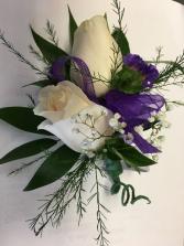 Purple & White wristlet corsage