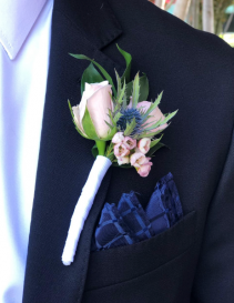 Purple Wild Groom boutonniere