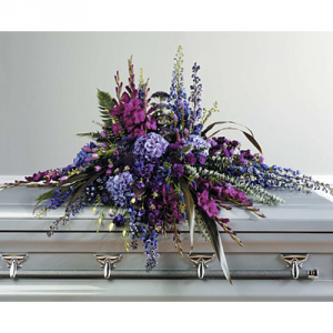 Purple Wilderness Casket spray in Bryson City, NC | Village Florist