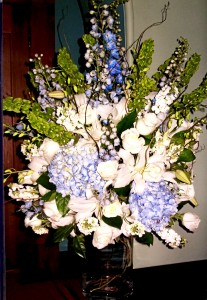 Purple & Blue Alter Arrangement Wedding Flowers